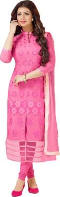 Nilkanth Communication Chanderi Embroidered Semi-stitched Salwar Suit Dupatta Material