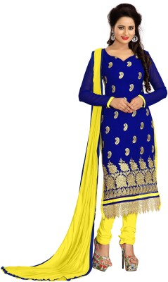 Sarees House Georgette Solid, Embroidered Salwar Suit Dupatta Material
