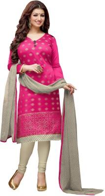 siya designer Chanderi Embroidered Semi-stitched Salwar Suit Dupatta Material
