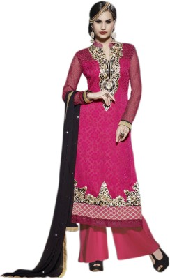 Glitzy Brasso Embroidered Semi-stitched Salwar Suit Dupatta Material