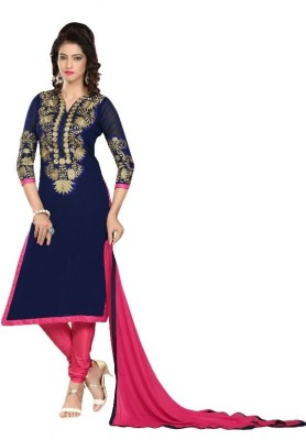 Exciting Deals Silk Embroidered Semi-stitched Salwar Suit Dupatta Material