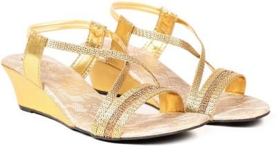 Ka Fashion Women Gold Wedges