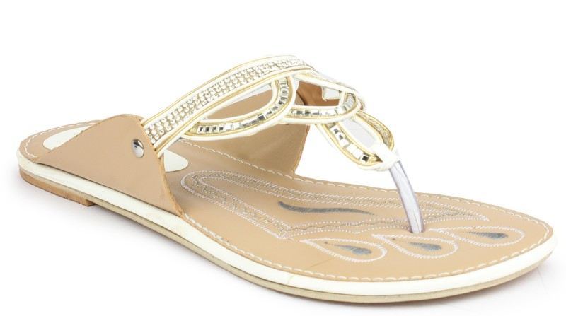 Regania Women Brown, Gold Flats...