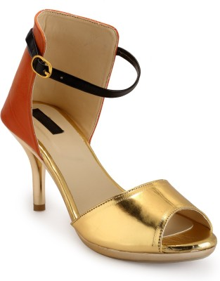 Fashionwalk Women Gold, Orange Heels