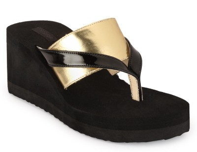 Something Different Women Black, Gold Wedges