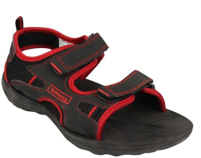 Kittens Boys Black, Red Sports Sandals