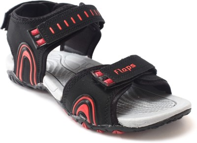 Flaps Men Black, Red Sandals