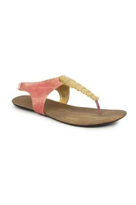 Stylistry MDIWO7FTSAND4098 Women Pink, Gold Flats