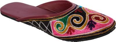 Rajasthanikart Women Pink, Black Flats