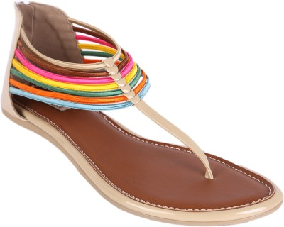 Indulgence Rush Of Colours Zipper Back Women Beige Flats