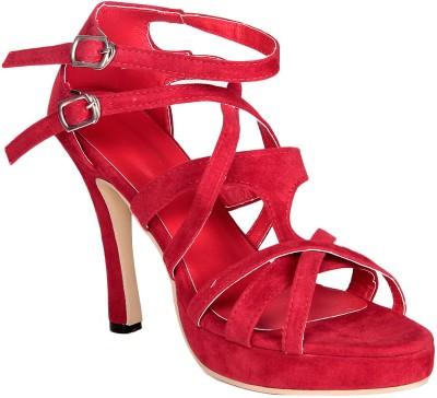 Soft & Sleek Criss Cross Red Women Red Heels