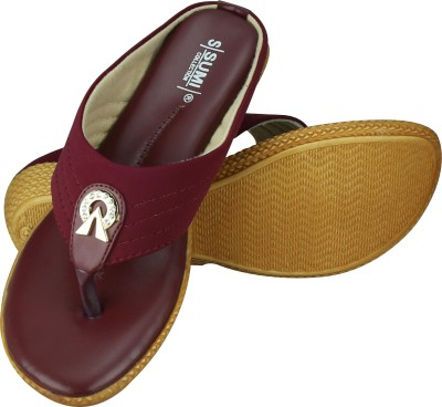 SUMI Collections Women Maroon Wedges