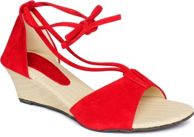 Nshell Women Red Wedges