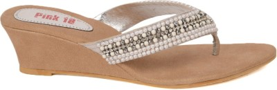 Pink 18 Women Silver Wedges