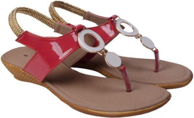 Wedeshi Women Pink, Gold, White Wedges