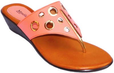 Mmélange Women Orange, Beige Wedges