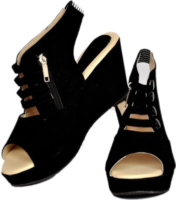 NE Shoes Women Black Wedges
