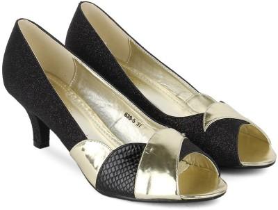 Tresmode Beipeep-1 Women Black, Gold Heels