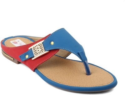 Style World Women Blue, Red Flats