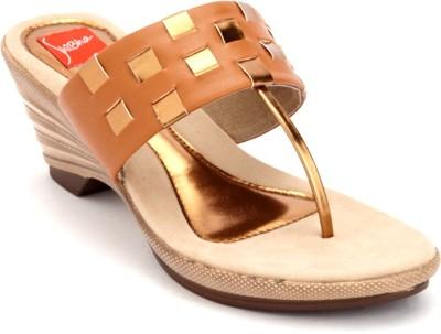 Shibha Footwear Women Brown, Gold Wedges