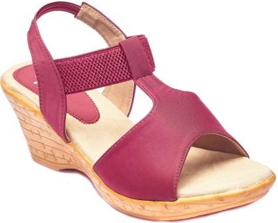 Foot Furnish Girls, Women Maroon, Beige Wedges