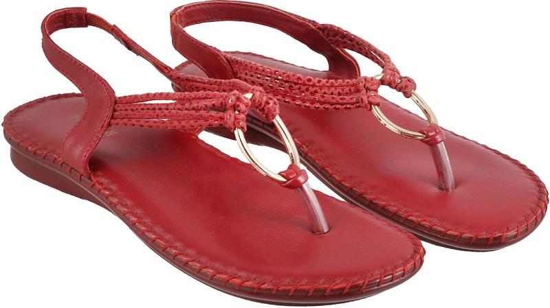 Mochi Women Red Flats