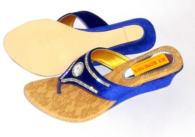 ice womeniya Women Blue Wedges