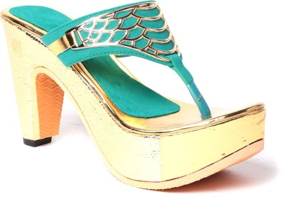 Laila Collection Women Green Heels