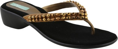 Ncollections Women Black, Gold Flats