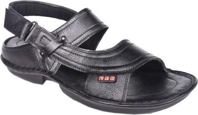 Leather Wood Men Black Sandals