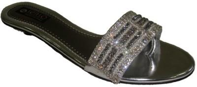 Senso Vegetarian Flat Studded Fancy Silver Slippers Women Silver Flats