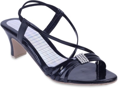 Fabme Glamorous Women Black, Silver Heels