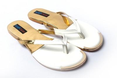 Kraft Cellar White Gold Duo Metal Insert Women White Flats