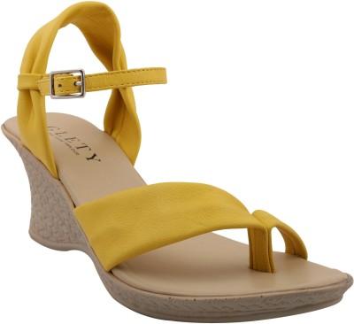 Glety Women Yellow Wedges