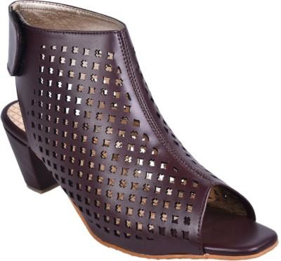 Leather Wood Women Brown Heels