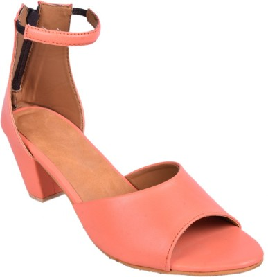 Leather Wood Women Pink Heels