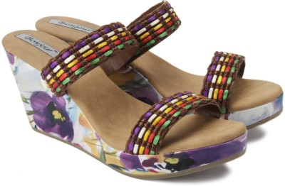Bonjour Women Multicolor, Brown Wedges