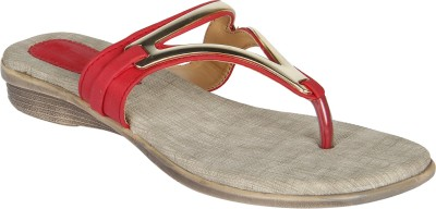 Niremo Red Superior Synthetic Leather Women Red Flats