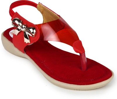 2B Collection Transparent-Red Girls Red Sandals