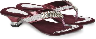 Agastya Women Maroon, Silver Heels