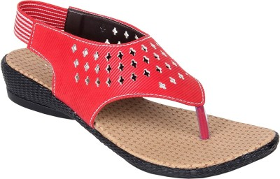Goyal Dotted Red Sandal Women Red Flats