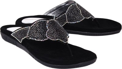 Ruby Swarovski Women Black Flats