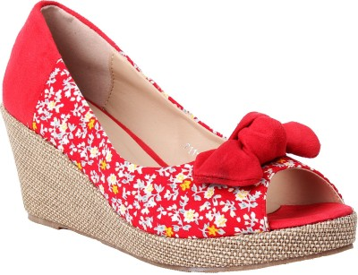 Foot Candy Women Red Wedges