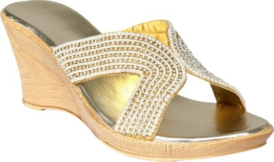 Shoe Bazar Women Gold Wedges