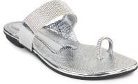 Bonzer Women Silver Flats