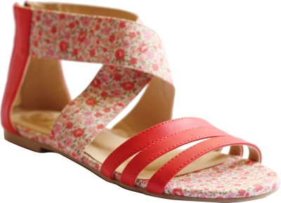 Kanabis Women Pink, Red Flats