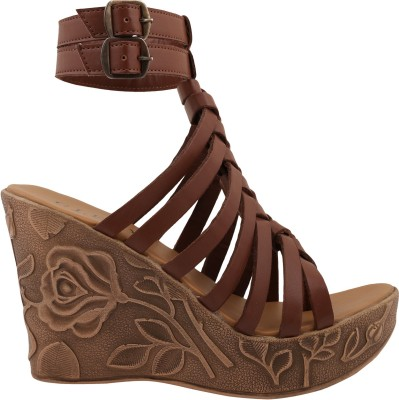 Glety Women Tan Wedges