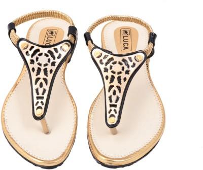 Luca Fashion Women Gold Flats