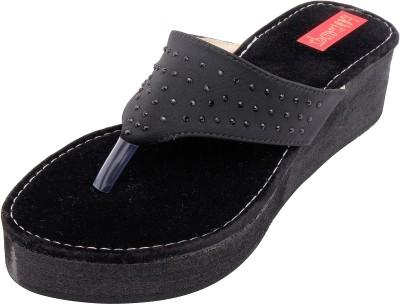 Footrendz Women Black Wedges