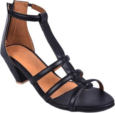 Leather Wood Women Black Heels